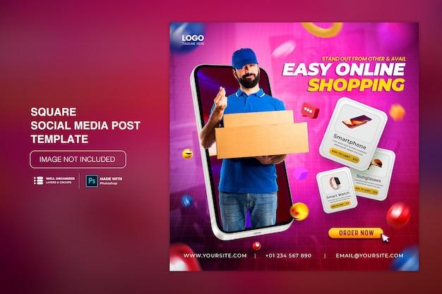Creative concept flash sale promocja zakupów online na post w mediach społecznościowych
