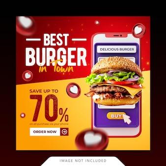 Creative concept special burger menu dla szablonu banera mediów społecznościowych promocji płatności cyfrowych