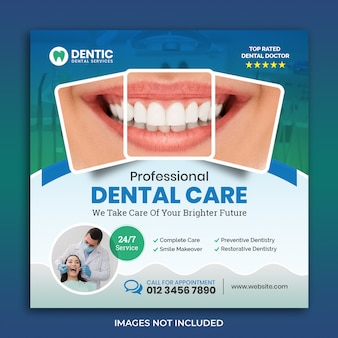 Creative dental flyer square bannertemplate
