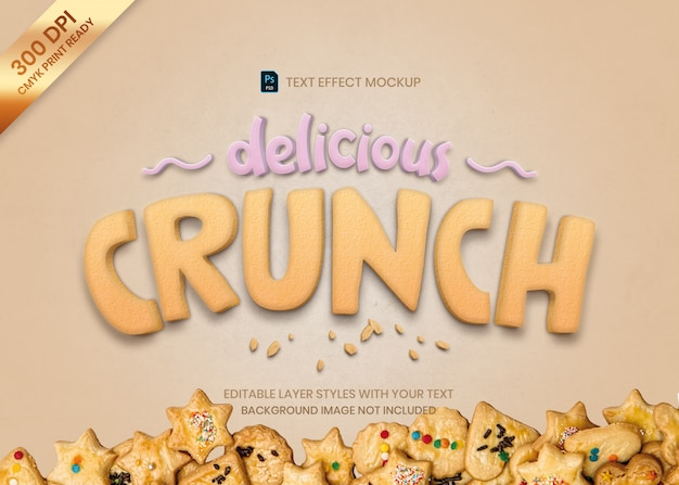 Crunch cookie food tekst efekt wydruku szablonu