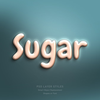 Cukier 3d efekt stylu tekstu psd