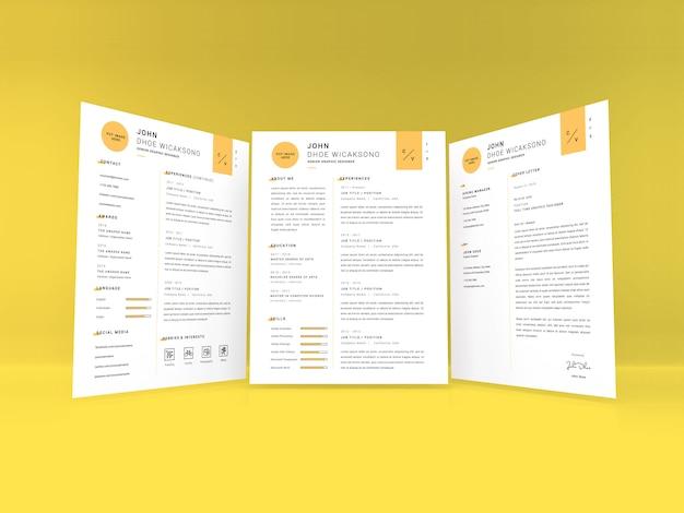 Curriculum vitae makieta tempate realistyczne wielkości listu