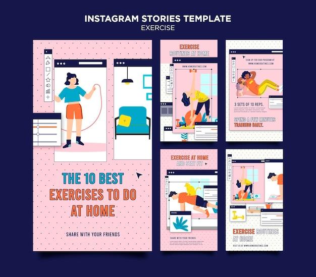 Ćwicz w domu historie na instagramie