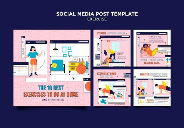 Ćwicz w domu post w mediach społecznościowych