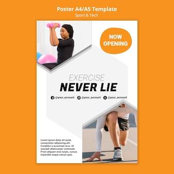 Ćwiczenia nigdy nie kłamią szablon plakatu treningu