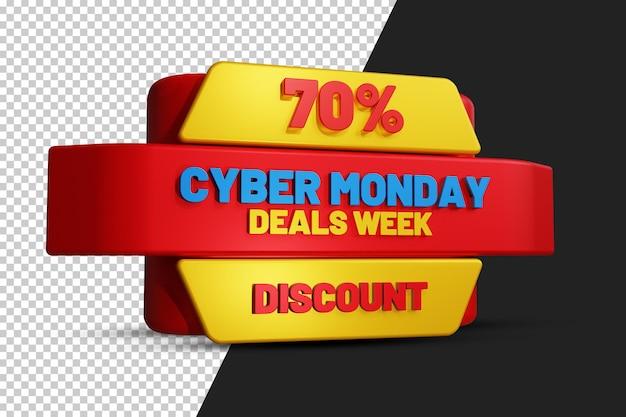Cyber monday deals week 70 procent zniżki projekt etykiety 3d przezroczyste tło psd