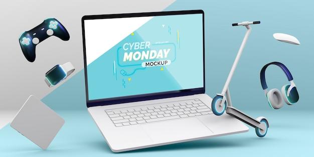 Cyberponiedziałkowa makieta sprzedaży laptopa z rozmieszczeniem różnych urządzeń