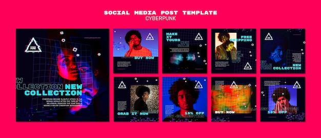 Cyberpunk futurystyczne posty w mediach społecznościowych