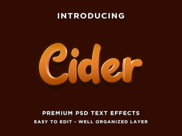 Cydr - makieta 3d nowoczesnych edytowalnych efektów tekstowych psd