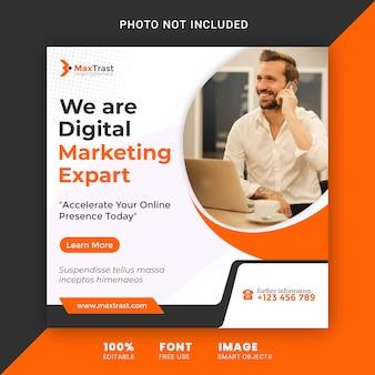 Cyfrowa agencja marketingu społecznościowego szablon transparent banner post