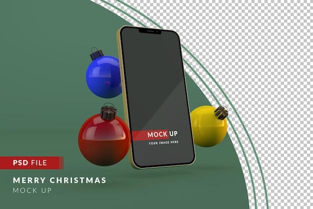 Cyfrowe boże narodzenie ze złotą makietą iphone'a i bombkami