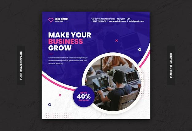 Cyfrowy baner marketingowy w mediach społecznościowych lub kwadratowa ulotka