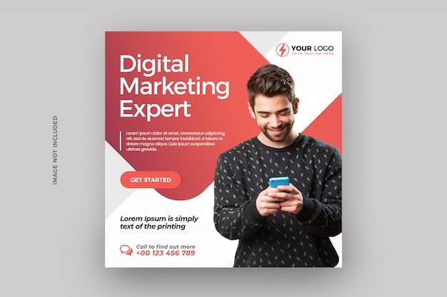 Cyfrowy biznes marketingowy post w mediach społecznościowych