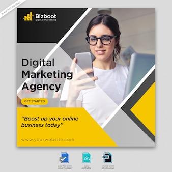 Cyfrowy biznes marketingowy w mediach społecznościowych baner lub kwadratowa ulotka premium psd