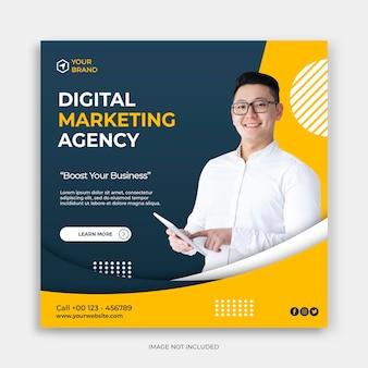 Cyfrowy biznes marketingowy w mediach społecznościowych post baner lub kwadratowa ulotka