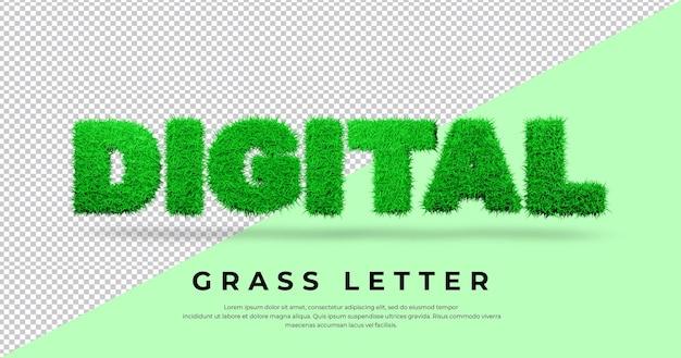 Cyfrowy tekst listu z 3d trawą