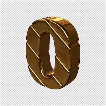 Cyfry ze sztabek złota obrócone w lewo. 3d numer 0