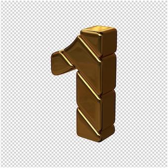 Cyfry ze sztabek złota obrócone w lewo. 3d numer 1