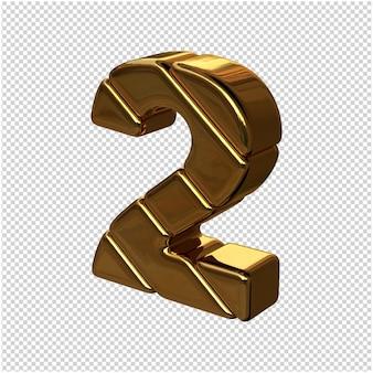 Cyfry ze sztabek złota obrócone w lewo. 3d numer 2