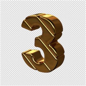 Cyfry ze sztabek złota obrócone w lewo. 3d numer 3