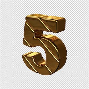 Cyfry ze sztabek złota obrócone w lewo. 3d numer 5