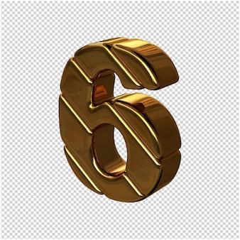 Cyfry ze sztabek złota obrócone w lewo. 3d numer 6