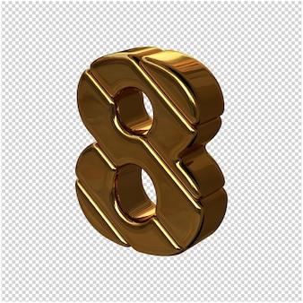 Cyfry ze sztabek złota obrócone w lewo. 3d numer 8