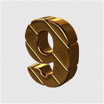 Cyfry ze sztabek złota obrócone w lewo. 3d numer 9