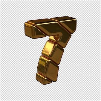 Cyfry ze sztabek złota zwrócone w prawo na przezroczystym tle. 3d numer 7