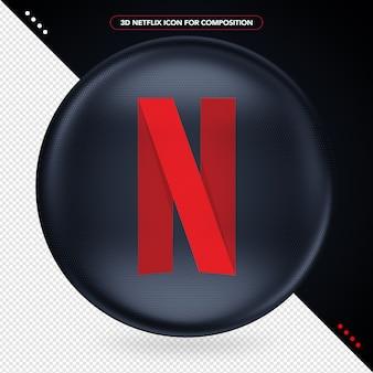 Czarna elipsa z logo 3d netflix
