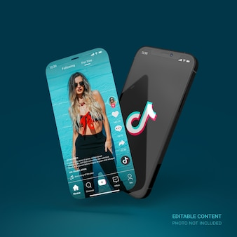 Czarna makieta smartfona z edytowalnym interfejsem użytkownika tiktok w mediach społecznościowych