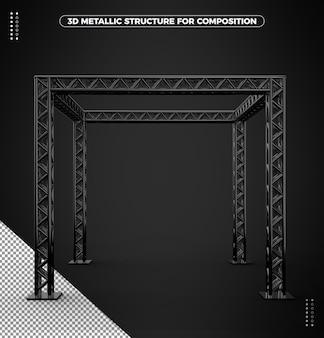 Czarna metaliczna struktura 3d do kompozycji