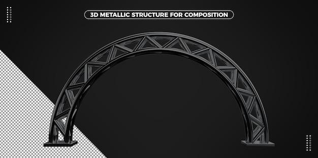 Czarna metalowa rama 3d łuku;