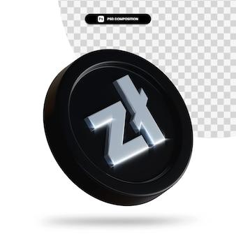 Czarna moneta wymiany renderowania 3d na białym tle