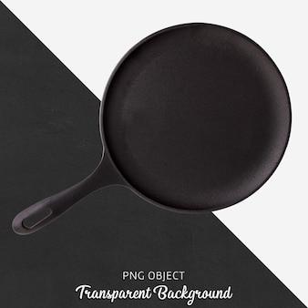 Czarna okrągła patelnia na przezroczystym tle