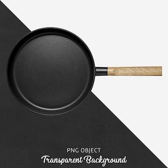 Czarna okrągła patelnia z drewnianą rączką na przezroczystym tle