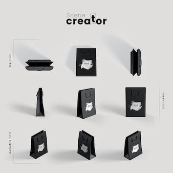 Czarna papierowa torba pod różnymi kątami do ilustracji twórców scen