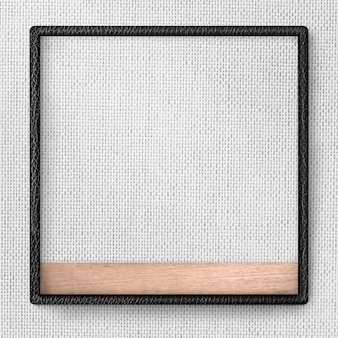 Czarna skórzana rama na szarej tkaninie tekstury tła ilustracji
