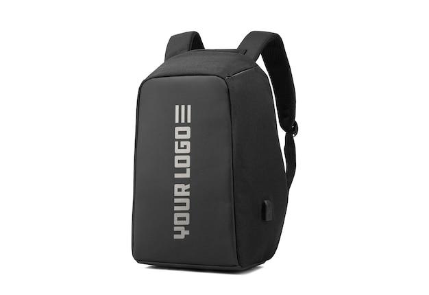 Czarna torba z makietą logo na białym tle