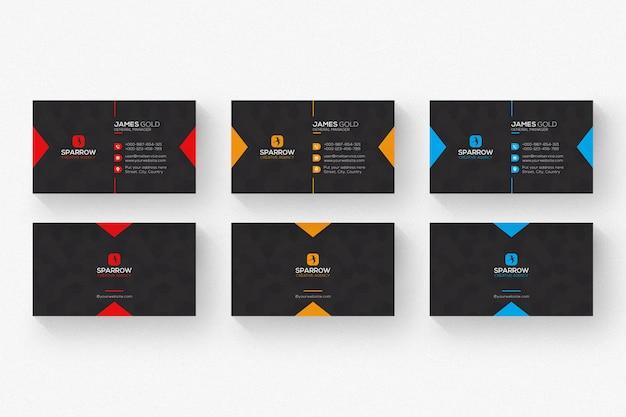 Czarna wizytówka z czerwonymi i pomarańczowymi detalami