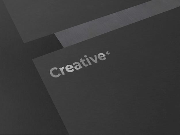 Czarne eleganckie logo i makieta karty papieru