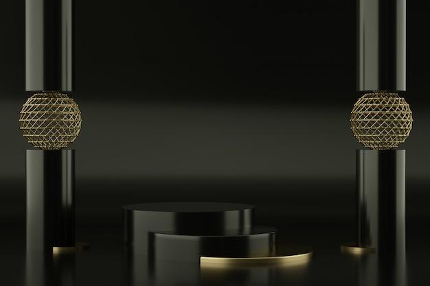 Czarne i złote podium do prezentacji produktu