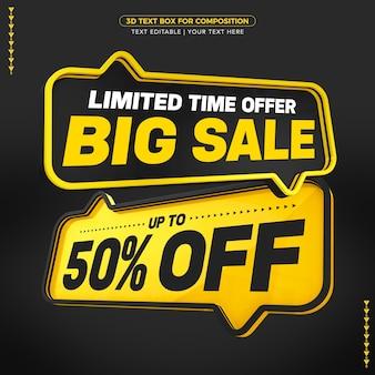 Czarne i żółte pola tekstowe duży tekst sprzedaży z rabatem do kwoty