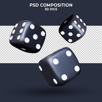 Czarne kości na przezroczystym tle renderowania 3d na białym tle