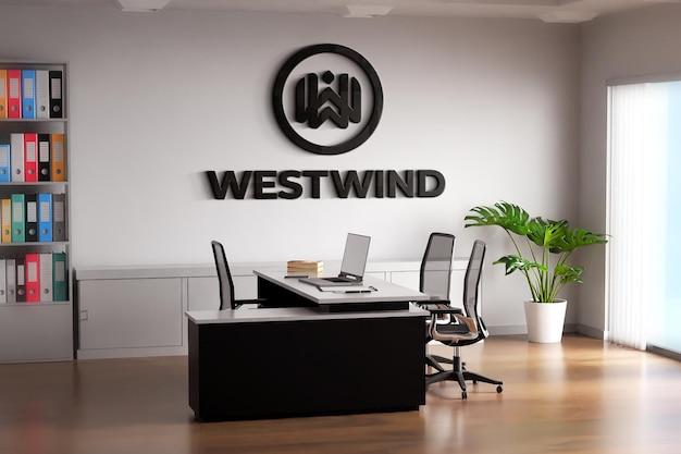 Czarne logo makieta pokoju biurowego na białej ścianie