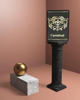 Czarne minimalistyczne kolumny z makietą karnawałową