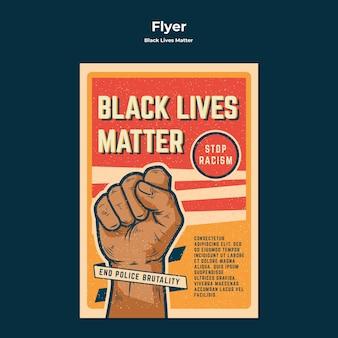 Czarne życie nie ma znaczenia szablon ulotki rasizmu