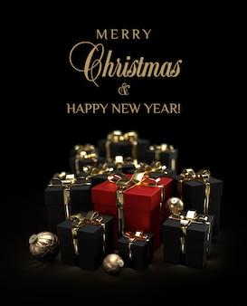Czarno-czerwone prezenty świąteczne na luksusowym czarnym tle