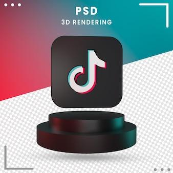 Czarny 3d obrócone logo ikona tiktok na białym tle