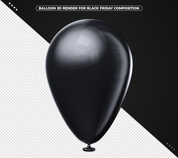 Czarny balon 3d render do makijażu